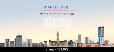 Manchester city skyline on beautiful daytime background vector illustration - Stock Photo