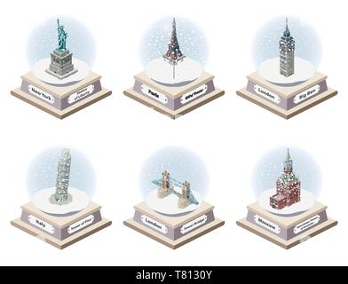 Vector 3d isometric snow globes with world famous landmarks inside. Collection of christmas illustrations isolated on white background - Stock Photo