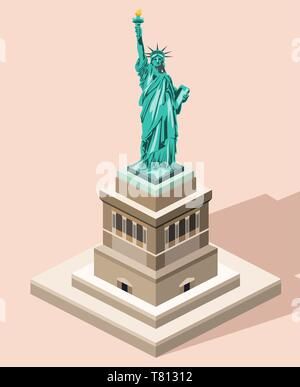 vector 3d isometric icon of Statue of Liberty with flat style colored background and shadow - Stock Photo