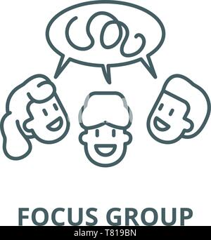 Focus group vector line icon, linear concept, outline sign, symbol - Stock Photo