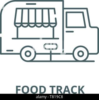 Food track vector line icon, linear concept, outline sign, symbol - Stock Photo