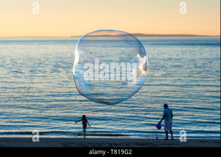 Large soap bubbles floating in blue sky toward sunset over Puget Sound - Stock Photo
