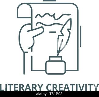 Literary creativity vector line icon, linear concept, outline sign, symbol - Stock Photo