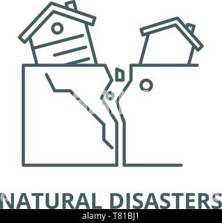 Natural disasters vector line icon, linear concept, outline sign, symbol - Stock Photo