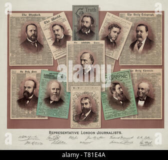 Representative London journalists -  Print shows bust portraits of eleven 19th century British newspaper editors and journalists superimposed on the front page of the newspaper they were associated with. Top row, from left: W.H. Mudford of 'The Standard', Edmund Yates of 'The World', 'Maleneh[?]' of the 'Truth', Frederick Greenwood of the 'St. James's Gazette', and George Augustus Sala of 'The Daily Telegraph'; at center is John Walter of 'The Times'; bottom row, from left, John R. Robinson of 'The Daily News', John L. Latey of 'The Illustrated London News', Francis C. Burnand of 'Punch', Will - Stock Photo