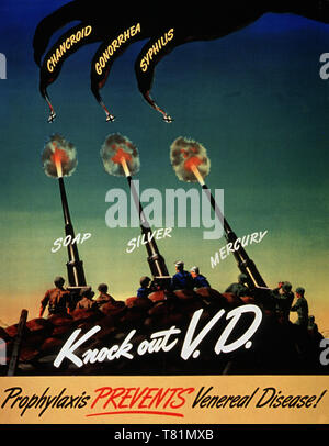 WWII STD Poster, Knock Out VD - Stock Photo