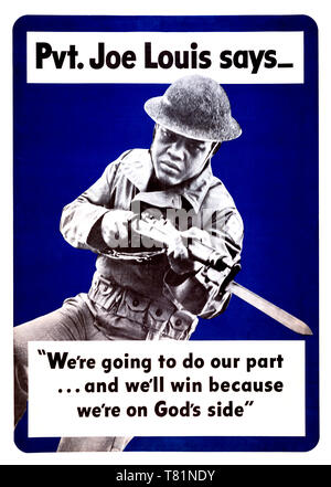 WWII, Joe Louis Recruitment Poster, 1942 - Stock Photo