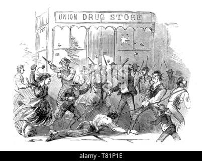 NYC Draft Riots, The Killing of Henry O'Brien, 1863 - Stock Photo