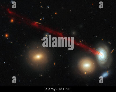 Spiral Galaxy D100 with Tail - Stock Photo