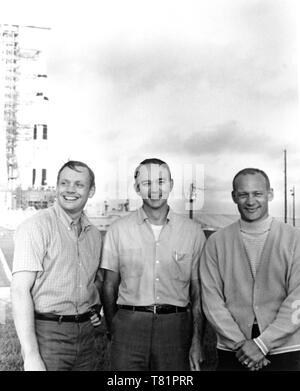 Apollo 11 Prime Crew with Saturn V, 1969 - Stock Photo