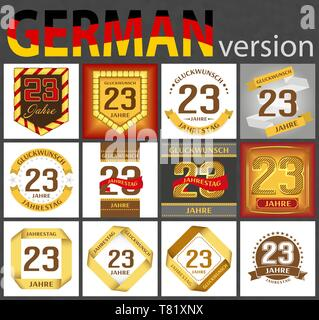 German set of number twenty-three years (23 years) celebration design. Anniversary number template elements for your birthday party. Translated from t - Stock Photo