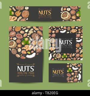 Set of vector cards with nuts and seeds. Vector illustration for your design - Stock Photo