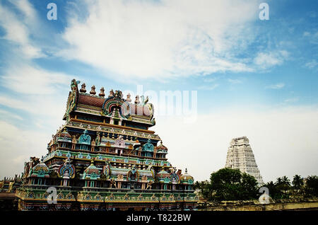 Entrance gateways or Gopuram in the Ranganathaswamy temple dedicated Shiva gog at Trichy in Tamil Nadu, India - Stock Photo