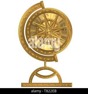 Goldener Globus Kompass   Anker  Windrose  Steuerrad - Stock Photo