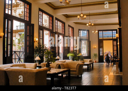 Hotel Ambos Mundos, Is a historical hotel built in 1924. Its best known as a home of Ernest Hemmingway when he was writing one of his great novels. - Stock Photo