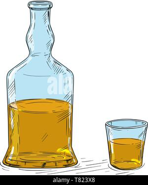 Vector cartoon illustration or drawing of half full hard liquor or whiskey bottle and shot glass. - Stock Photo