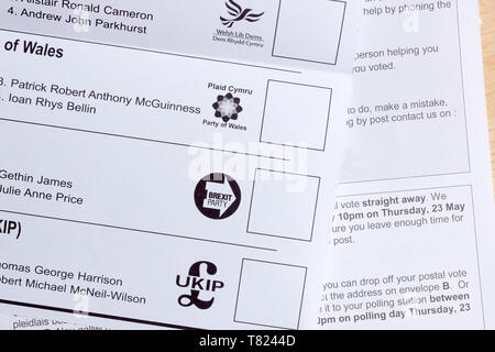 EU parliamentary election postal ballot form issued in Wales with the Brexit party voting box for  the May 23rd 2019 elections - Stock Photo