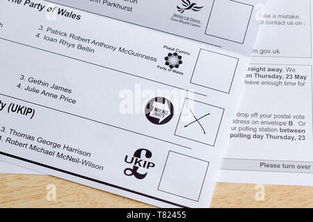 EU parliamentary election postal ballot form issued in Wales with the Brexit party voting box the May 23rd 2019 elections - Stock Photo