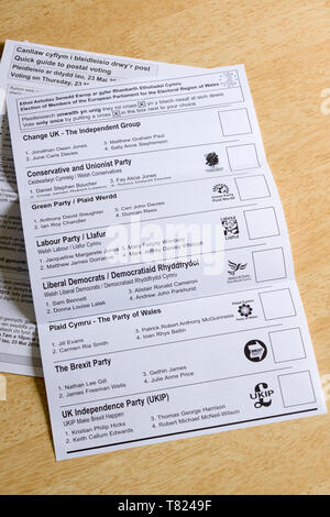 EU parliamentary election postal ballot form issued in Wales with the the various political parties on offer for the May 23rd 2019 elections - Stock Photo