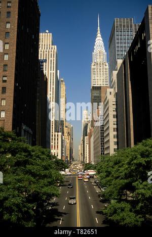 East 42nd Street shot from an Overpass, Midtown Manhattan, NYC - Stock Photo
