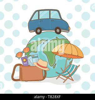 world planet with car and travel vacations items vector illustration design - Stock Photo