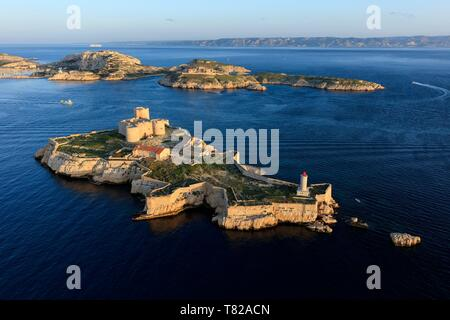 France, Bouches du Rhone, Calanques National Park, Marseille, 7th arrondissement, Frioul Islands archipelago, Ile d'If, Chateau d'If, listed as a Historic Monument (aerial view) - Stock Photo