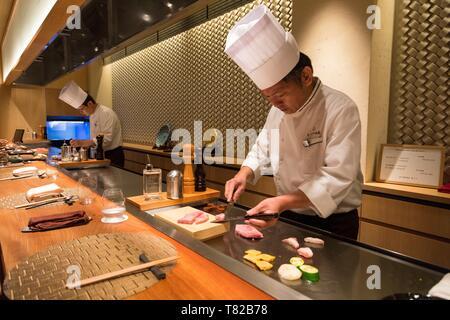 Japan, Honshu Island, Kansai Region, Kyoto, Restaurant, Kobe Beef - Stock Photo