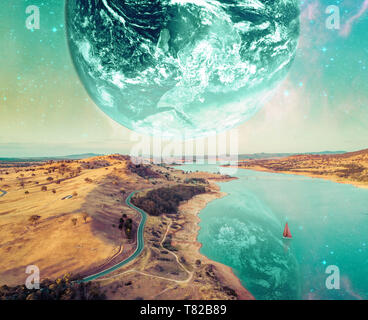 Unreal fantasy landscape of sailboat sailing across a river on alien planet. Elements of this image furnished by NASA - Stock Photo