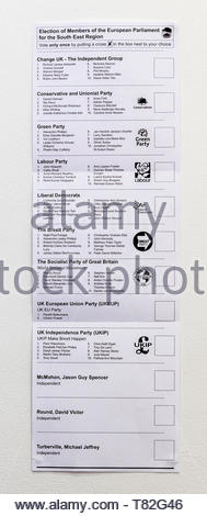 Hampshire, UK. 10th May 2019. Postal voting ballot papers have been delivered across the UK in preparation for the European Parliamentary Elections on 23rd May 2019. Shown here, the South East Region Ballot Paper. - Stock Photo
