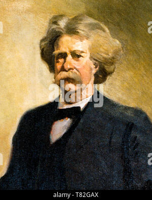 Mark Twain (1835-1910), portrait painting (detail), c. 1912 - Stock Photo