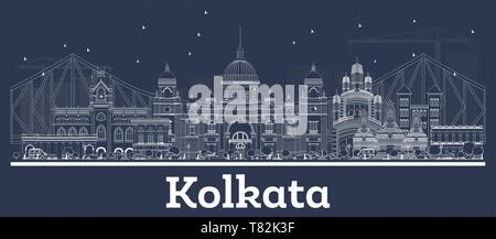 Outline Kolkata India City Skyline with White Buildings. Vector Illustration. Business Travel and Concept with Historic Architecture. Kolkata. - Stock Photo
