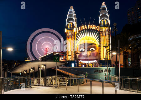 Entrance of famous Luna Park in Sydney's city centre.. - Stock Photo