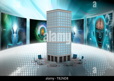 Computer network around the building in colour back ground - Stock Photo