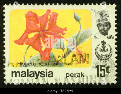 Stamp print in Malaysia,flowers,Hibiscus rosa-sinensis - Stock Photo