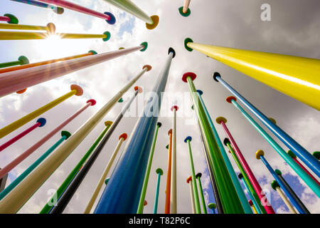 Colorful sculpture Coloris, City Life, by Pascale Marthine Tayou, at City Life, new residential area, in Milan - Stock Photo