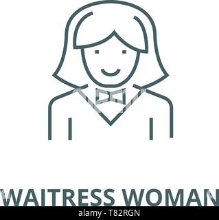 Waitress woman vector line icon, linear concept, outline sign, symbol - Stock Photo