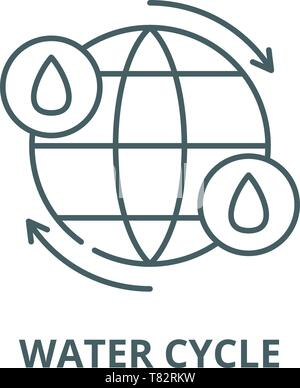 Water cycle vector line icon, linear concept, outline sign, symbol - Stock Photo