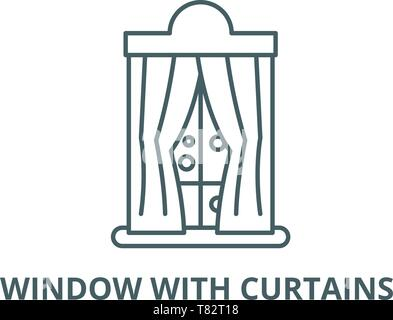 Window with curtains in winter vector line icon, linear concept, outline sign, symbol - Stock Photo
