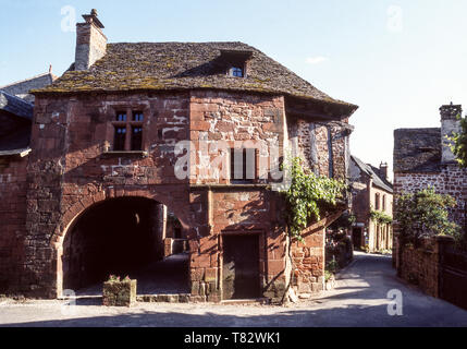 The medieval village of Collonges la Rouge in the Dept. Correze. Classed as one of the most beautiful villages of France. - Stock Photo