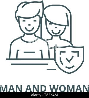 Man and woman,front,shield vector line icon, linear concept, outline sign, symbol - Stock Photo