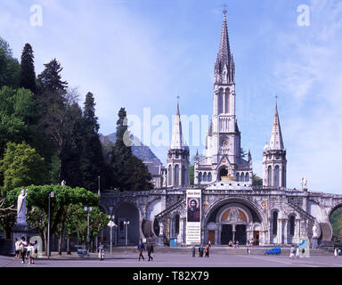 Lourdes.The Rosary Basilica,The Crypt and the Upper Basilica The town of Lourdes. Hautes-Pyrenees.France - Stock Photo