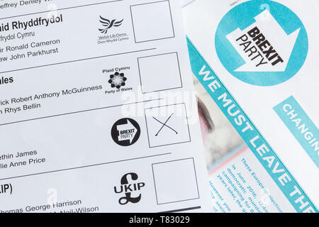 EU parliamentary election postal ballot or voting form with the Brexit party voting box and leaflet for the May 23rd 2019 elections - Stock Photo