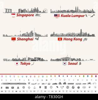 vector skylines of Singapore, Kuala Lumpur, Shanghai, Hong Kong, Tokyo and Seoul - Stock Photo