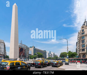 Obelisco (Obelisk), Plaza de la republica, Avenida 9 de Julio,  Buenos Aires, Argentina - Stock Photo