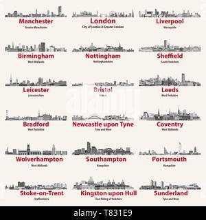 England cities isolated skylines. Vector illustration - Stock Photo