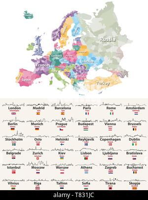 vector illustration of Europe regions map with european cities skylines icons - Stock Photo
