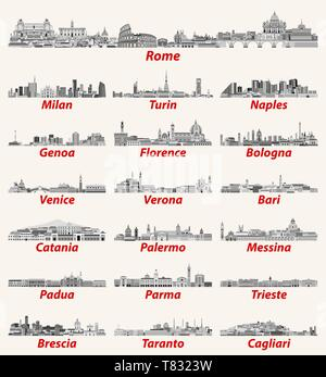 Italy cities cities skylines vector illustration - Stock Photo