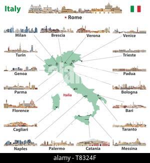 vector illustration of Italy map with main cities skylines - Stock Photo