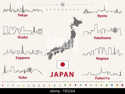 vector illustration of japanese cities skylines outlines - Stock Photo