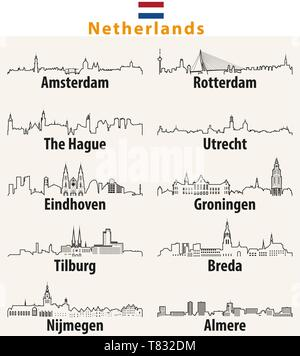 Netherlands largest cities skylines outlines - Stock Photo